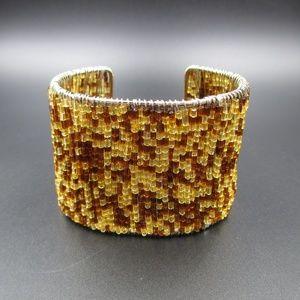 Jewelry - Handmade Brown & Yellow Beaded Cuff Bracelet